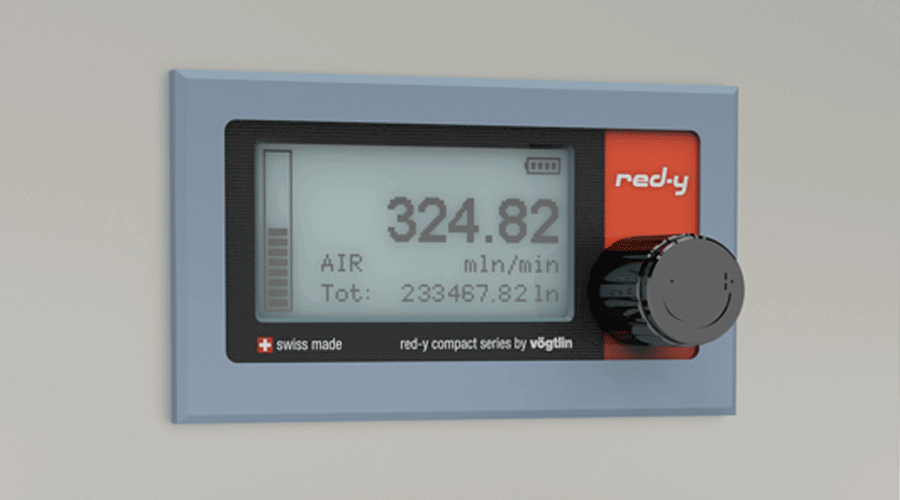 Battery Powered Digital Mass Flow Meters for Gases red-y compact series Front Panel Mounting